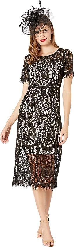1920s Floral Lace Georgine Flapper Dress