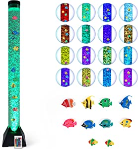 Bubble Tube Lamp Bubble Lamp Water Lamp Bubble Tube Lamp with Fish Autism Sensory Room Equipment for Autistic Children with 10 Fish 20 Color Remote 4ft Floor Tower Light Bubbletube for Kid Home Decor