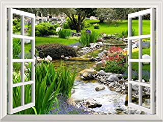 """wall26 Removable Wall Sticker/Wall Mural Clear Spring and Green Grass Out of The Open Window Creative Wall Decor - 36""""x48"""""""