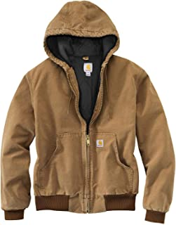 Men's Quilted Flannel Lined Duck Active Work Jacket Brown...
