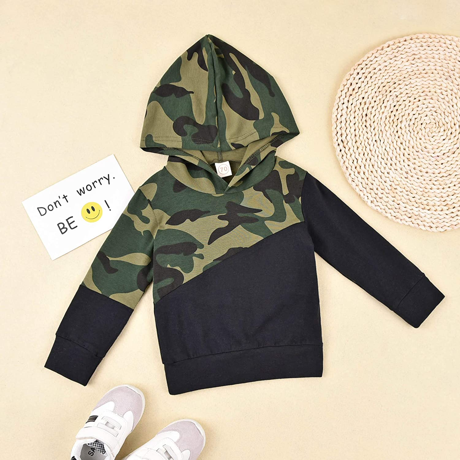Newborn Baby Boy Camouflage Outfit Long Sleeve Hooded Pullover Top + Camo Long Pants Toddler Kids Fall Winter Clothes