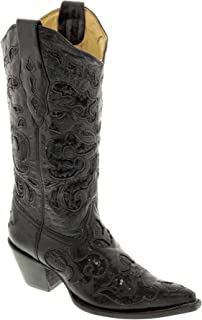 Corral Women's Sequin Inlay Cowgirl Boot Pointed Toe Black