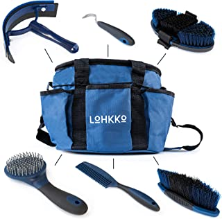 Horse Grooming Kit. 7-Piece. Organizer Tote Bag, Tack Room Supplies Set with Assorted Hair and Curry Brushes, Hoof Pick, S...