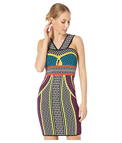 BCBGMAXAZRIA Printed Fitted Halter Dress (Multi) Women