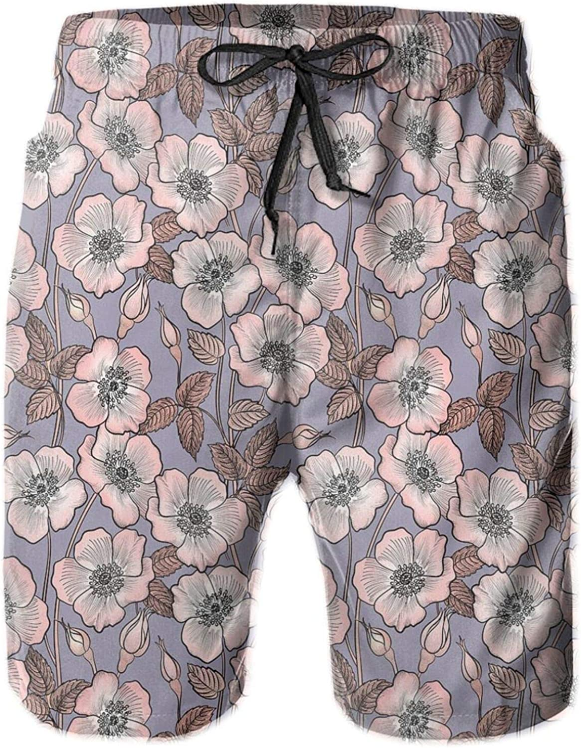 Graceful Nature Theme Bedding Plant Poppies Buds with Artistic Look French Garden Printed Beach Shorts for Men Swim Trucks Mesh Lining,XXL