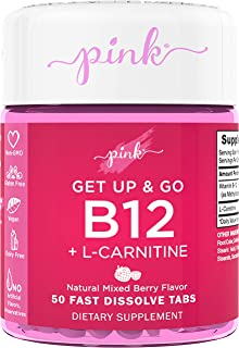 Pink Get Up & Go B12 Vitamin for Women | 50 Dissolvable Tablets | B12 5000mcg | Delicious Berry Flavor | Vegan, Non-GMO & ...
