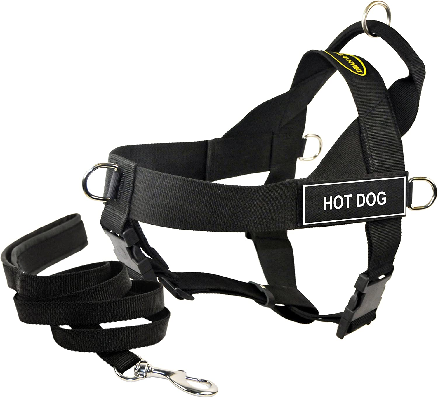 Dean & Tyler's DT Universal HOT DOG Harness, Small, with 6 ft Padded Puppy Leash.