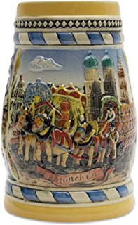 Beer Stein Engraved German Oktoberfest in Munich Scene Beer Mug by E.H.G. | .6 Liter