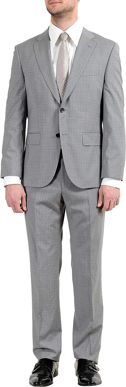 Hugo Boss Johnstons4/Lenon1 Men's 100% Wool Gray Two Button Suit US 36S IT 46S