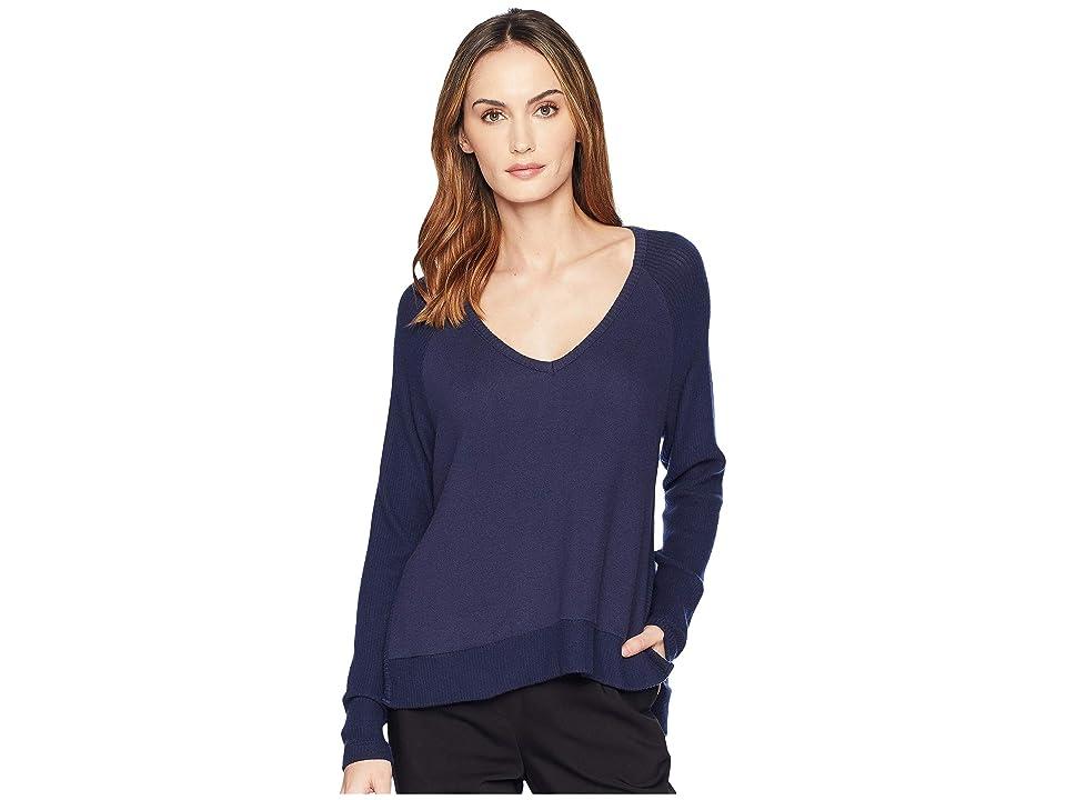 Three Dots Myra V-Neck Sweater (Night Iris) Women