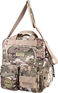 Lillian Rose Military Camouflage Daddy Diaper Bag, Tan/Green, 14.5