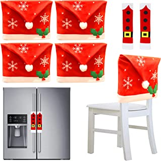 JOYIN 4Pcs Christmas Dining Chair Slipcovers with 2 Pcs Handle Door Covers Holiday Decorations Ornaments Set for Xmas Refr...
