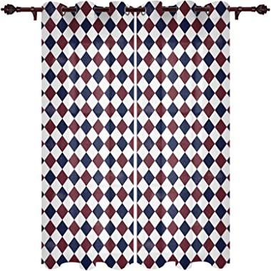 Window Curtain Panel Pair with Grommet Top, American Flag Buffalo Lattice Window Treatment for Bedroom Living Room Kitchen Of