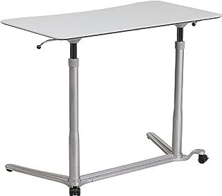Flash Furniture Sit-Down, Stand-Up Light Gray Computer Ergonomic Desk with 37.375''W Top (Adjustable Range 29'' - 40.75'')