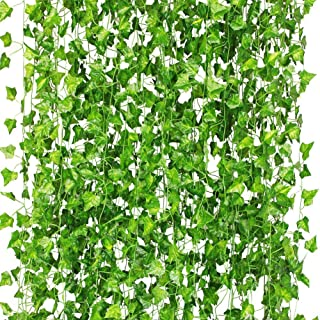 CQURE 12 Pack 84Ft Artificial Ivy Garland,Ivy Garland Fake Vine UV Resistant Green Leaves Fake Plants Hanging Vine Plant for Wedding Party Garden Wall Decoration