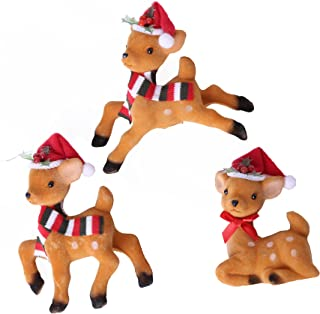 Greencherry Christmas Reindeers Litter Animal Models Toy Gift Xmas Tree Decoration Accessories Birthday Doll Cute Deer Pack of 3