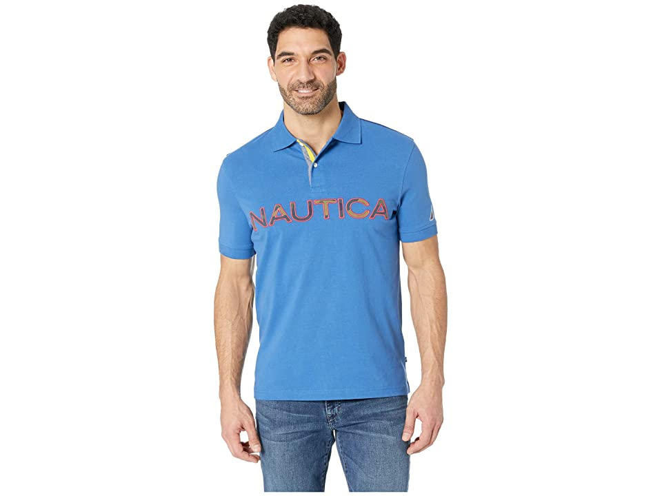 Nautica Short Sleeve Kauai Logo Polo (Bolt Blue) Men