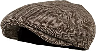 Wonderful Fashion Men's Classic Herringbone Tweed Wool Blend Newsboy Ivy Hat (Large/X-Large, Charcoal)