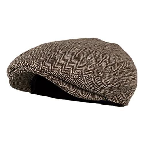 cfdbc0271c2f5 Wonderful Fashion Men s Classic Herringbone Tweed Wool Blend Newsboy Ivy Hat  (Large X-
