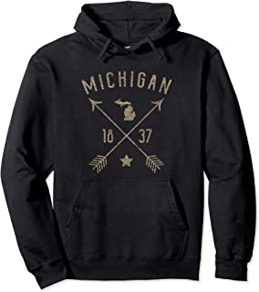 Vintage Michigan Distressed Home State Map Boho Arrows Pullover Hoodie