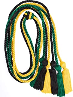 Whaline 3Pcs Graduation Honor Cords, Rayon Braided Honor Cords with Tassels for Grad Days and Graduates Photography (Black, Gold, Green)