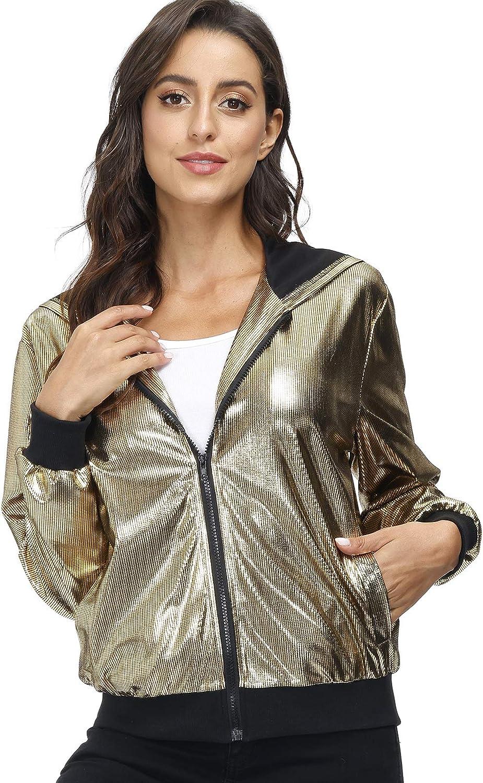 Sequin Free shipping / New Jackets Ranking TOP9 for Women - Metall Lightweight Zipper Sleeve Long