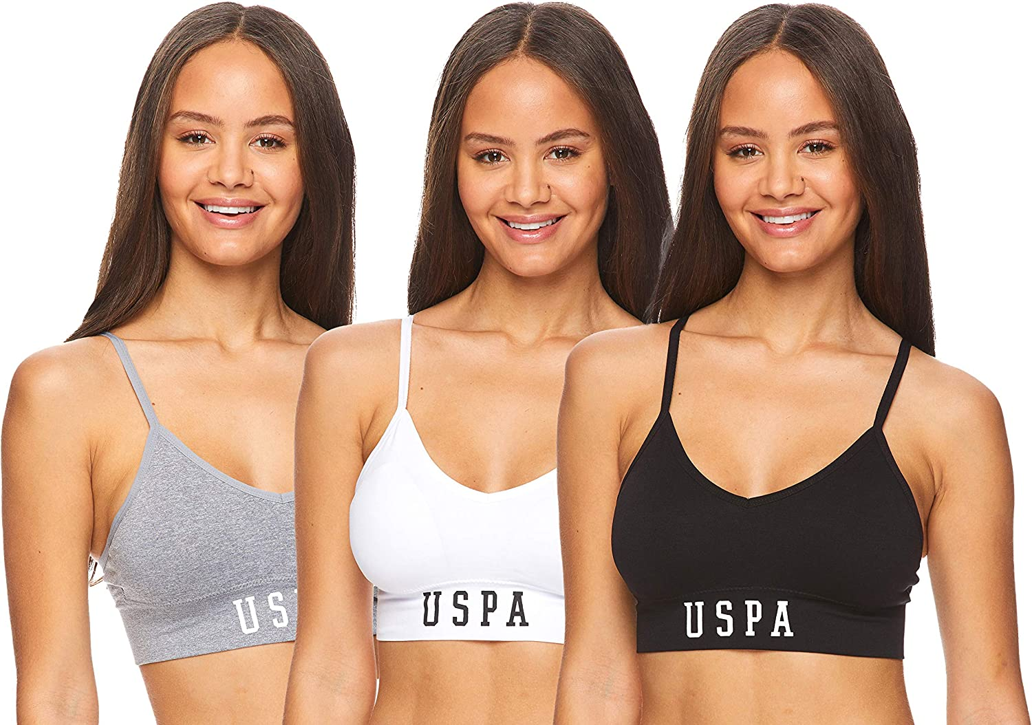 Womens Multi Pack Seamless Cami Sports Bra with Removable Padding and Adjustable Straps U.S Polo Assn