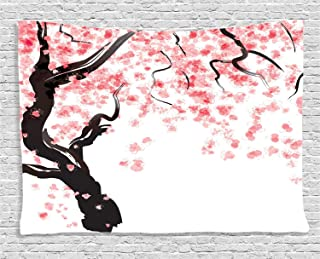 Gibson annime Floral Tapestry, Dogwood Tree Blossom in Watercolor Painting Effect Spring Season Theme Pinkish Tones, Wide Wall Hanging for Bedroom Living Room Dorm, Black Pink,59x51 inch