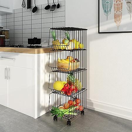 Mocosy Panier en Fil avec Roues et Couvercle, Support Utilitaire de Panier de Fruits Roulant empilable à 4 Niveaux, bac de Rangement pour Cuisine