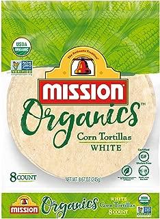 Mission Organics White Corn Tortillas | Gluten Free, Non GMO, Trans Fat Free | Small Soft Taco Size | 6 Count