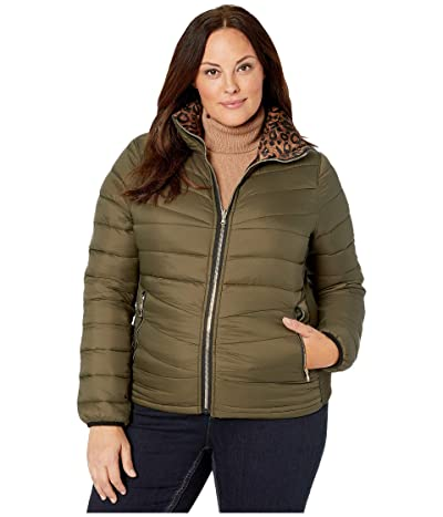 YMI Snobbish Plus Size Reversible Packable Puffer Leopard Jacket (Olive/Leopard) Women