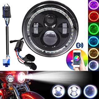 7 Inch 2014-2019 Harley Street Glide Special LED Headlight, with Cellphone Bluetooth Controlled Multicolor Angel Eye, Road King Special Headlamp Hi-Lo Beam Projector with RGB Music Mode Halo,(Black)