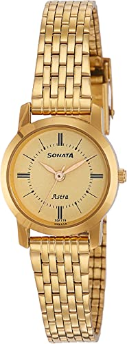 Sonata Analog Champagne Dial Women's Watch NM87018YM01/NN87018YM01