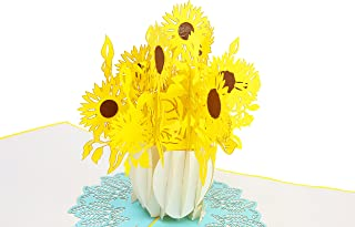 PopLife Sunflower Bouquet 3D Pop Up Mother's Day Card - Popup Birthday Card, Baby Shower Gift, Get Well - Fold Flat for Mailing - for Mother, for Daughter, for Wife, for Granddaughter, Mom, Sister