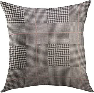Mugod Decorative Throw Pillow Cover for Couch Sofa,Gray Tartan Prince of Wales Check in Black White with Red Overcheck Glen Plaid Abstract Argyle Home Decor Pillow case 18x18 Inch