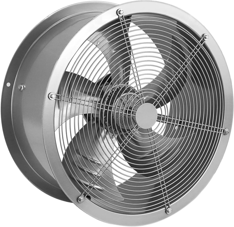 PrimeMatik - Extractor de Aire de Tubo de 600 mm para ventilación Industrial 1350 RPM Redondo 670x670x280 mm Plateado