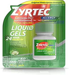Zyrtec 24 HR Indoor/Outdoor Allergy Relief Liquid Gels Capsules, Cetirizine HCI Antihistamine, 40 ct