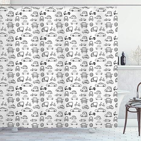 Boys Cars Pattern Shower Curtain Fabric Decor Set with Hooks 4 Sizes