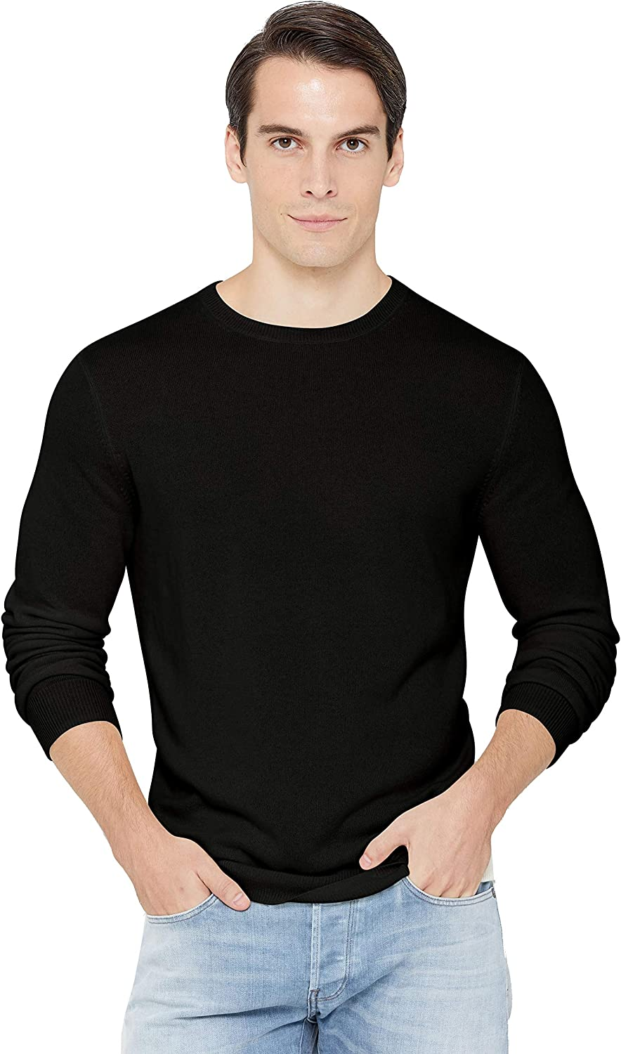 State Cashmere Men's Essential Crewneck Sweater 100% Pure Cashmere Classic Long Sleeve Pullover