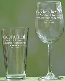 93c586d22cc Personalized Godparent Gift, Godfather Pint Glass, Godmother Wine Glass,  Baptism Gift for Godparent