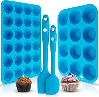 Baking & Beyond Premium Silicone Muffin Pan - Non Stick Silicone Cupcake Pan - 12 Cup Muffin Tray, 24 Cups ...