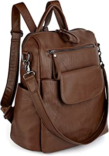 UTO Women Backpack Purse 3 ways PU Washed Leather Ladies Rucksack Shoulder Bag Brown