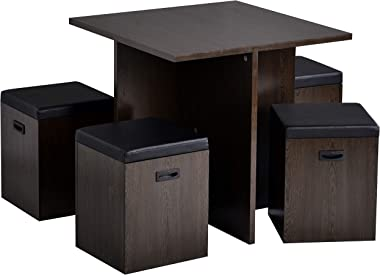 Knocbel 5-Piece Compact Dining Table Set with Storage Ottomans, Space Saving Kitchen Dining Room Set with Square Table for Sm