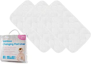 """Bamboo Baby Changing Pad Liners with Waterproof Lining (Pack of 3)   Extra-Large 14"""" x 27"""" Diaper Station Toppers   Portable & Travel Friendly   Super Soft Liner Set for Changing Covers (White)"""