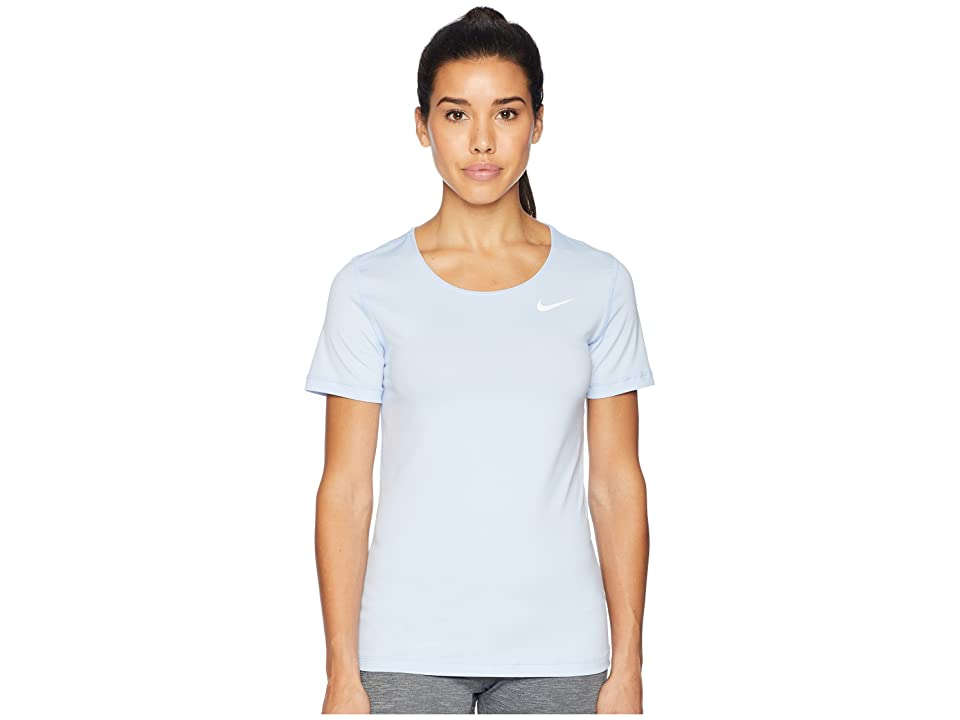 Nike Pro Mesh Short Sleeve Top (Royal Tint/White) Women