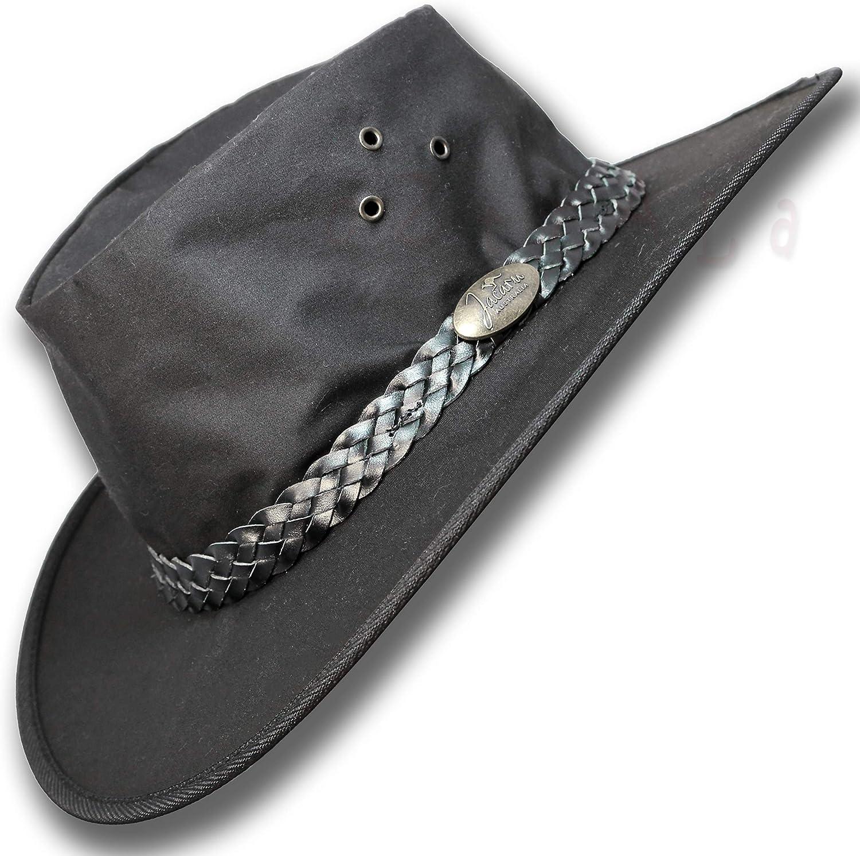 Luxury goods Oztrala Ranking TOP8 Hat Oilskin Canvas Australian Outback Leather Mens Black
