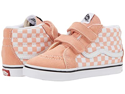 Vans Kids Sk8-Mid Reissue V (Infant/Toddler) ((Checkerboard) Salmon/True White) Girls Shoes
