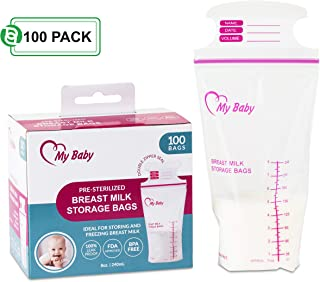 8 Ounce Breast Milk Storage Bags | Breastfeeding Freezer Storage Container with Accurate Measurements | BPA Free & Heavy-Duty Milk Storage Bags | 100 Count