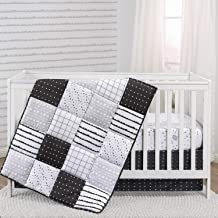 The Peanutshell Black and White Crib Bedding Set for Baby Boys or Girls | 3 Piece Nursery Set | Crib Quilt, Fitted Sheet, ...