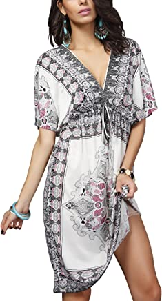 7c58b50c4b OCTOPUSIR Ladies Beach Wraps and Cover ups 2018 Women's V-Neck Bohemia  Beach Dress Short